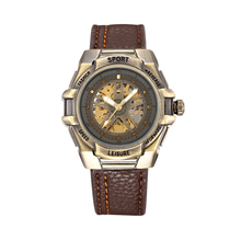 Luxury New Style Automatic Self Wind Bronze Tone Case Mens Mechanical Wrist Watch Skeleton Steampunk Leather Band Watch