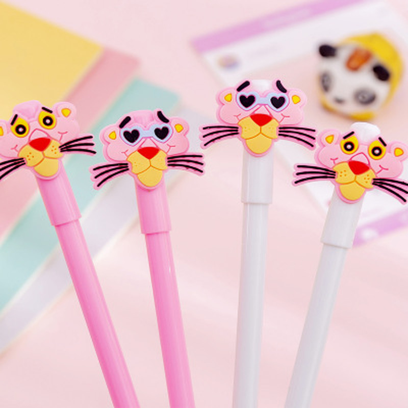 1pcs Pink Panther Gel Pen Kawaii Stationery Gel Pens 0.38mm Novelty Cute Pens Student Writing Pen Gift Kawaii School Supplies