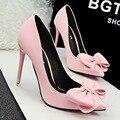 Senhora Doce cor doce grande arco alto-Sapatos de salto alto sapatos único saltos finos de Alta-heelsed pontas do dedo do pé do concurso rosa das mulheres ol sapatos