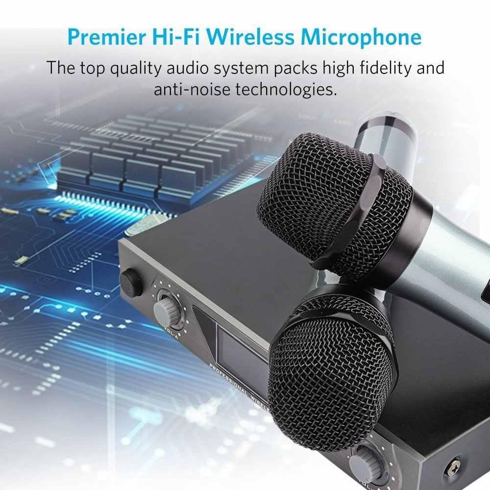 ARCHEER ハンドヘルドマイク UHF 周波数ダイナミックカプセル 2 チャンネルワイヤレス用 Lcd ディスプレイ