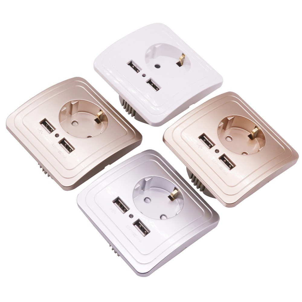 1 pcs Dual USB Port 5V 2A Electric Wall Charger Adapter EU Plug Socket Switch USB FAST CHARGING INTERFACE Four Colors Optional