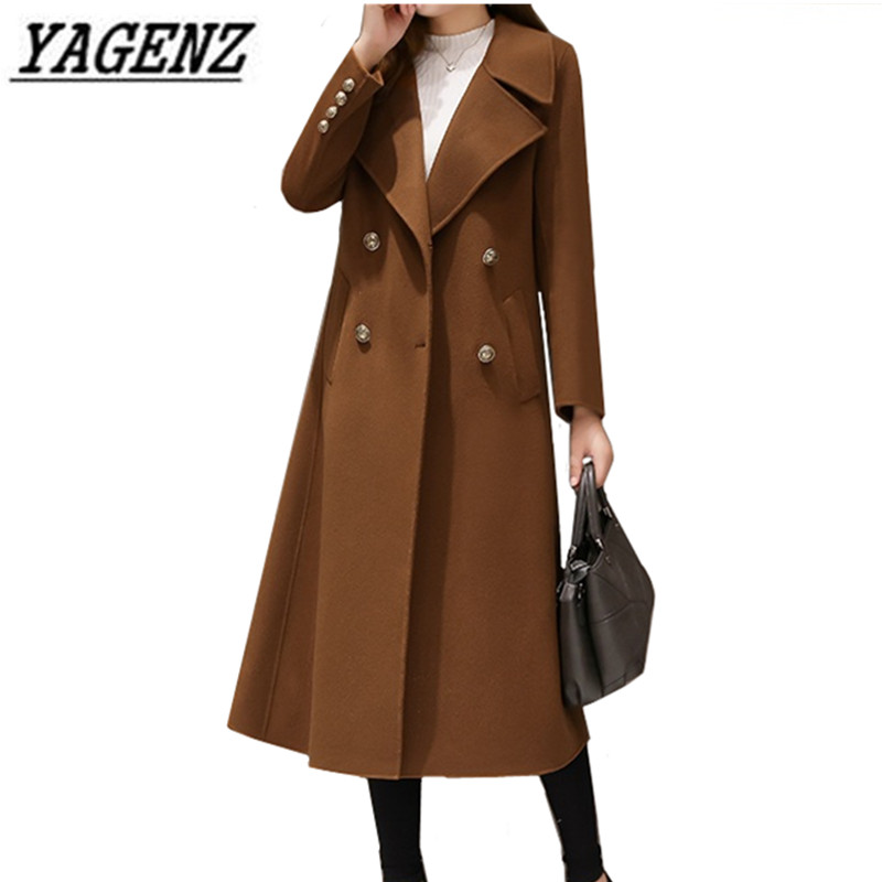 Large size 5XL Women's Wool Long Coats Korean 2019 New Fashion Double breasted Slim Warm Outerwear Coats Casual Winter Jackets-in Wool & Blends from Women's Clothing    1