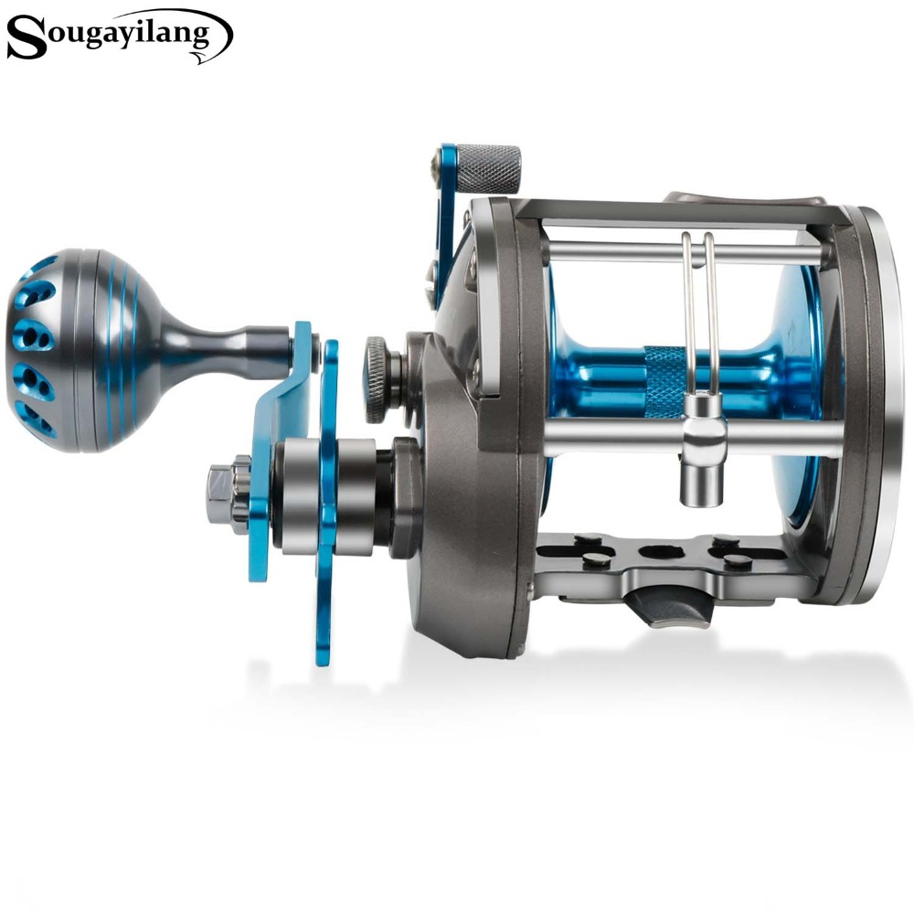 Sougayilang Strong Trolling Reel Fishing Full Metal Right Hand Casting Sea Fishing Reel Baitcasting Reel Coil Max Drag 10-20kg
