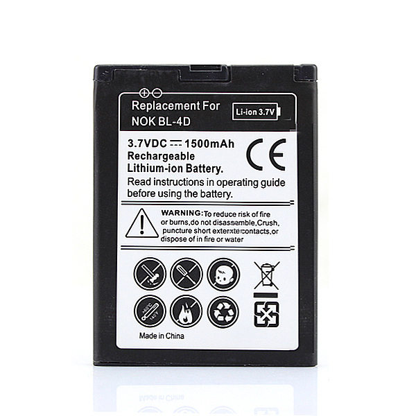100% Newest 1500mah BL-4D Battery For <font><b>Nokia</b></font> N97 <font><b>N8</b></font> <font><b>N8</b></font>-<font><b>00</b></font> E5 E5-<font><b>00</b></font> E7 E7-<font><b>00</b></font> Lithium Ion Bateria BL 4D Battery image