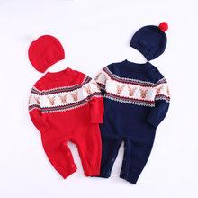 a9d1f4c3bdf0 baby boy girl newborn autumn winter christmas romper body suit moose sweater  with reindeer infant children