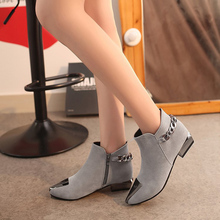 Tangnest 2019 Women Ankle Boots Autumn Med Square Heel Slip On Flock Leather Boo