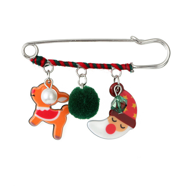 7c87c64ae5b36 DoreenBeads Christmas Gift Acrylic Badges Safety Pin Brooch Santa Claus  Snowman Elk Bell Pins for Kid