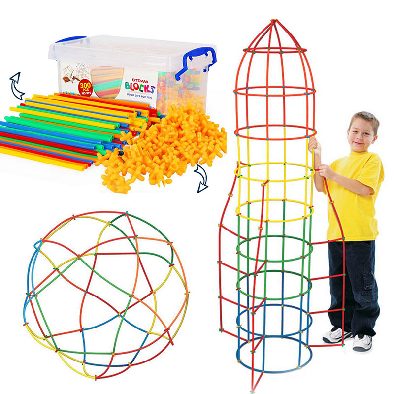 4D DIY Plastic Toys Straw Fight Inserted Construction Building Kits Assembly Toys Blocks Bricks Christmas Gift for Kids
