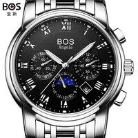2016 мужские часы лучший бренд класса люкс BOS Три набора работы нержавеющей стали Moon Phase Водонепроницаемый мужские Автоматические механическ...
