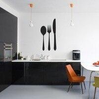 2016 di modo cucina vinile adesivo word decalcomania spoon fork knife murale di arte della parete ristorante casa cucina decorazione