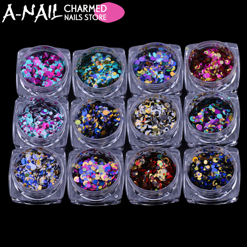 12jars/set Laser 12 Colors Nail Art Glitter ROUND Shapes Confetti Sequins Acrylic Tips UV Gel Polish For Nails Vtirka Decoration 12jars set 12 colors nail art glitter laser crushed shell dust bits for nail polish uv acrylic 3d nail manicure decorations