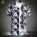 Super Large Size Floral Chemise Homme 6XL 5XL 8Color Flower Cotton Camisa Masculina Brand Clothing Short Sleeve Men Shirt 2017