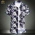 Super grande tamanho 6xl 5xl 8 cor da flor de algodão floral chemise homme camisa masculina marca clothing manga curta camisa dos homens 2017