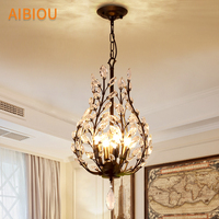 AIBIOU Modern Led Pendant Lights With Metal Lamp Body For Dining Room Crystal Pendant Lighting Aisle Hanging Light E14 Luminaire