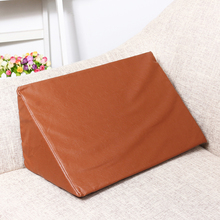4 Sizes Leather Sponge Orthopedic Acid Reflux Bed Wedge Pillow Back Leg Elevation Cushion Pad Bedding Triangle Pillows Brown