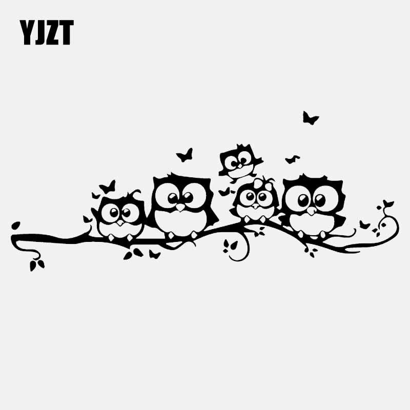 YJZT 18.8CM*7.8CM Owl Butterfly Car Stickers Decorations Birds Vinyl Decals Black/Silver C24-0384