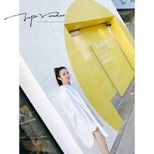 JUPE VENDUE Womens Fashion POLO Leisure Shirt Long Casual White 52604