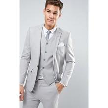 Light Grey New Mens Slim Fit Latest Suits Men Custom Made Skinny Wedding Best Man 3 Pieces Set