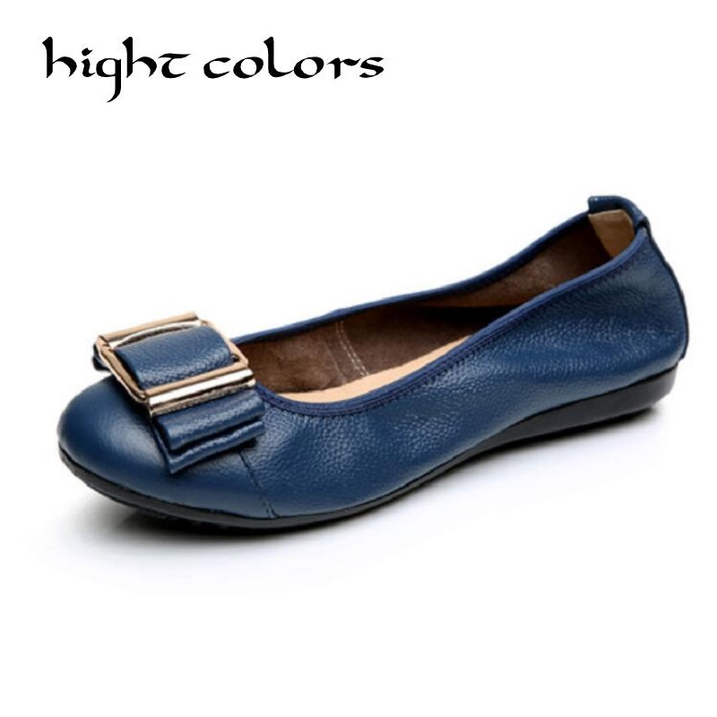 Summer Autumn Fashion Bow Design Round Toe 6 Colors Flat Shoes Vintage Genuine Leather Women Flats Girl Loafer 006AB front lace up casual ankle boots autumn vintage brown new booties flat genuine leather suede shoes round toe fall female fashion