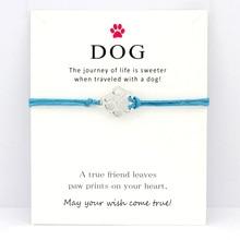 Dog Paw Animal Antique Silver Charm Card Bracelets Purple Aqua Red Wax Cord Women Men Girl Boy Jewelry Gift Many Styles Choose