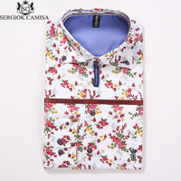 Sergio K Camisa Spring Floral Print Men Shirts Long Sleeve Mens Casual Shirt Slim Men Flower