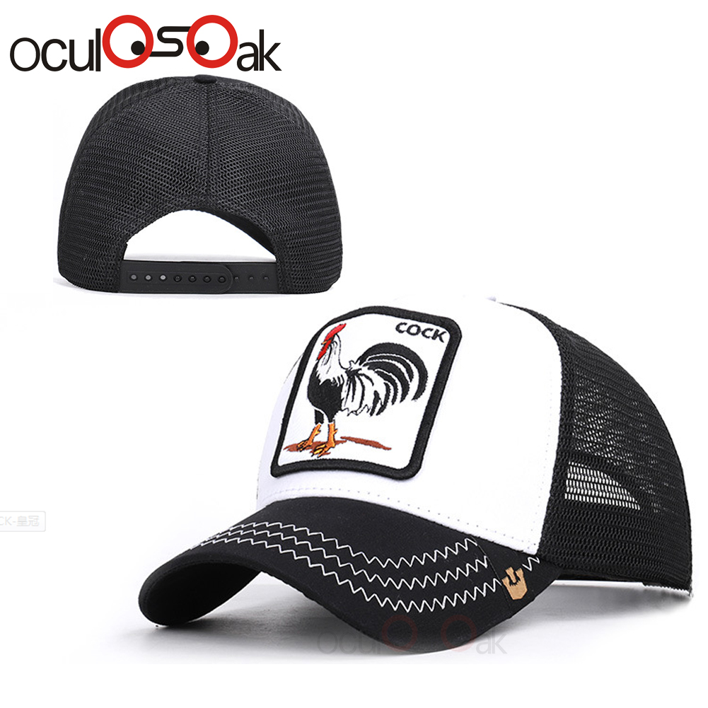 new cockcap   Baseball     Caps   Rooster Embroidery Hats Men Snapback Breathable Mesh Bones Fashion Streetwear Cock Trucker   Cap   Women