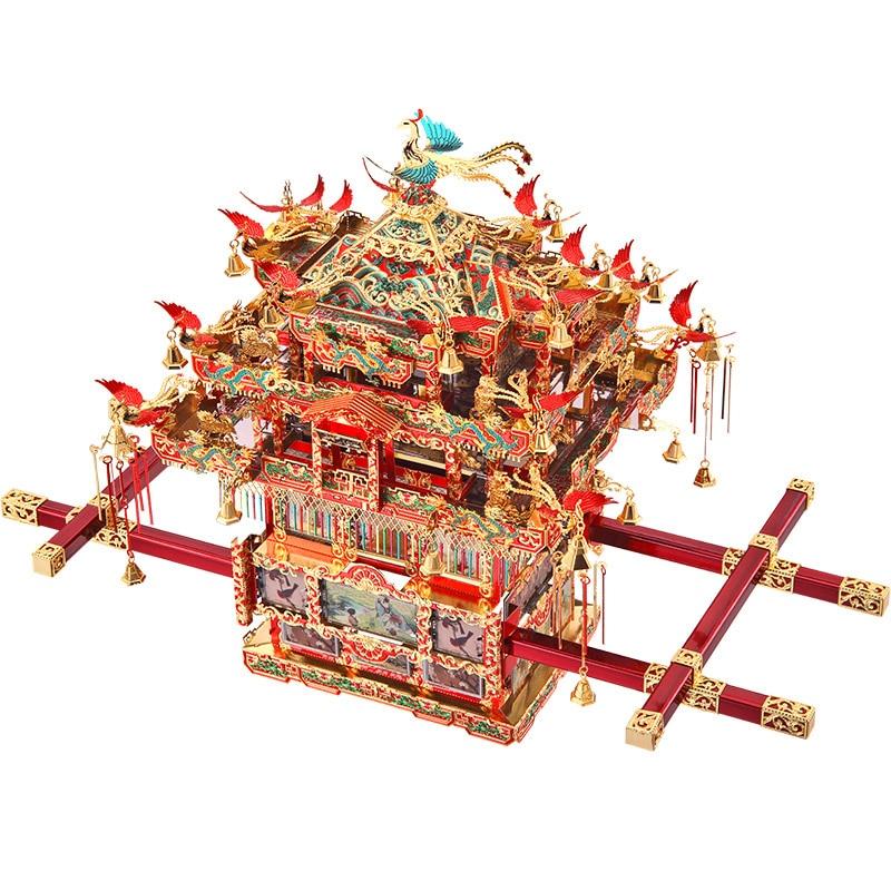 Piececool De Mariée Chaise à Porteurs 3D Métal Modèle Kits DIY Assembler Puzzle Laser Cut Jigsaw Construction Jouets Cadeau P116-RGN