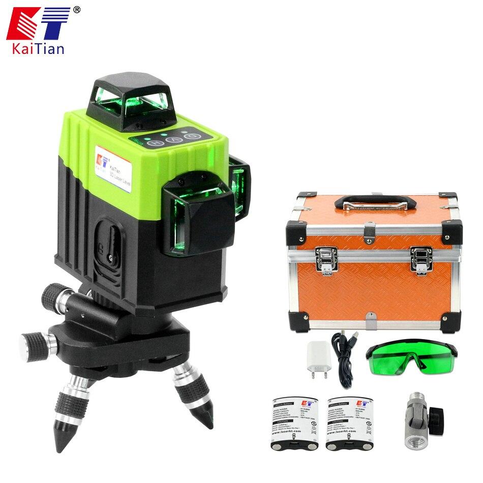 KaiTian 12 Linee 3D Laser Livelli di Batteria Auto-Livellamento Croce Orizzontale 360 Verticale Laser Verde Fascio 532nm Linea Livella livello