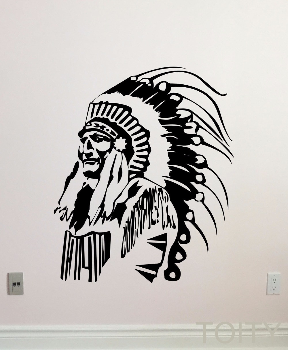 popular native indian decor buy cheap native indian decor lots native american wall decal feather indian chief vinyl sticker home interior living room decor retro art