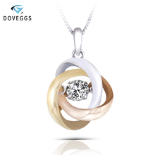 DovEggs Romantic 14K 585 Three Tones White Yellow and Pink Rose Gold 0.25ct 4MM F Color Moissanite Pendant for Women Gift