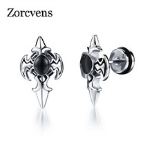 Zorcvens Personality Cross Design Man S Stud Earring Fashion Stainless Steel Cubic Zirconia Men Jewelry Whole