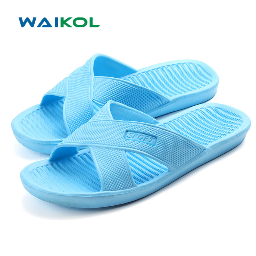 Waikol Summer EVA Massage Women Shoes Foam Beach Flat Sandals Non-slip Bathroom Household Slippers 50%off men shoes summer eva massage foam beach flat sandals non slip bathroom household room indoor home house shoes