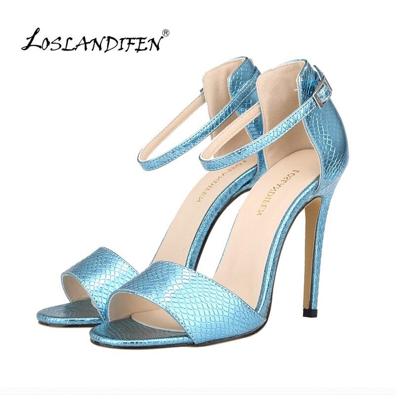 LOSLANDIFEN Fashion Open Toe High Heels Ladies Crocodile Pumps Women