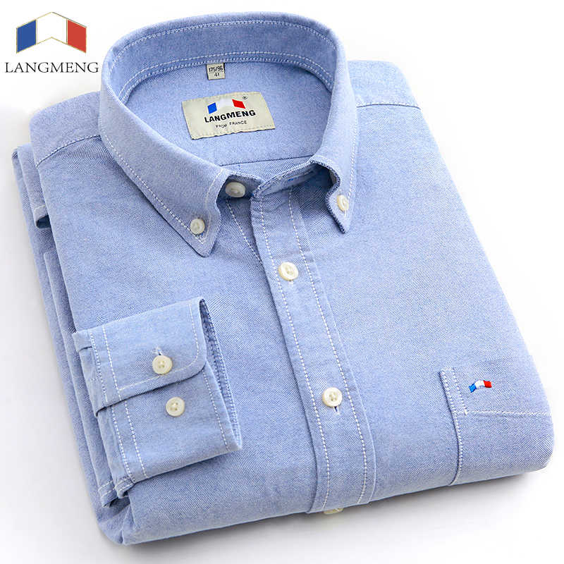 Langmeng plus size brand 100%  cotton solid color shirt men spring casual shirts oxford dress shirt camisa masculina white black