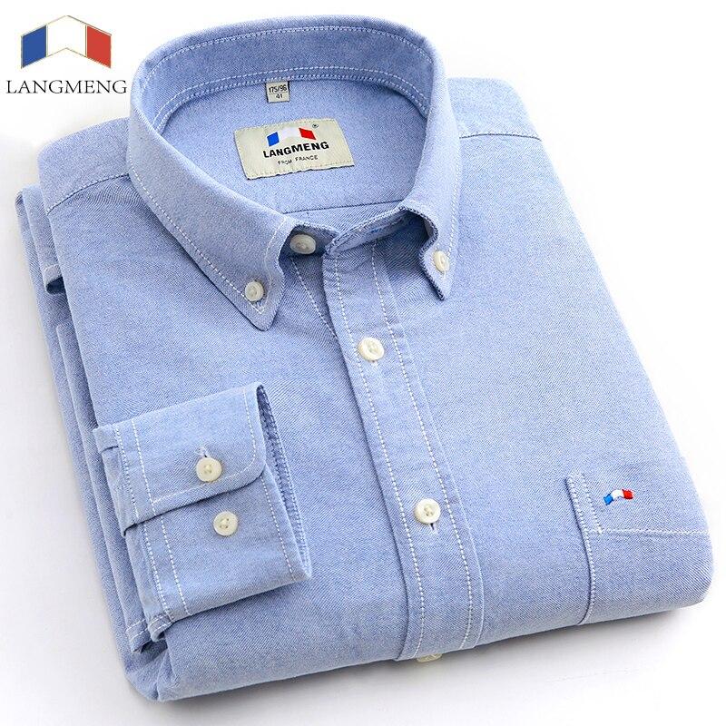 Langmeng 2016 brand 100% cotton solid striped shirt men spring casual shirts oxford dress shirt camisa masculina white black
