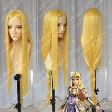 De Legende van Zelda Elizabeth Smith Prinses Zelda 100 cm Lange Golden Blonde Hittebestendige Cosplay Kostuum Pruik + Track + Cap