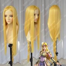 Легенда о Зельде, принцесса Elizabeth Smith, Зельда, 100 см, длинный, золотой, светлый, термостойкий косплей костюм, парик + трек + Кепка