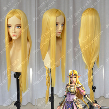 The Legend of Zelda Elizabeth Smith Princess Zelda 100cm Long Golden Blonde Heat Resistant Cosplay Costume Wig + Track + Cap