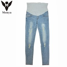 Jeans Maternity Clothes high-quality Pregnancy Knitted Regular Women Pencil Abdominal Pants Hole Slim Trousers Fall Winter jeans