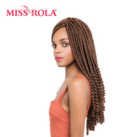 Miss Rola Faux Locs Curly Crochet Braid Hair 30 Kanekalon Low Temperature Fiber 18inch Synthetic Braiding
