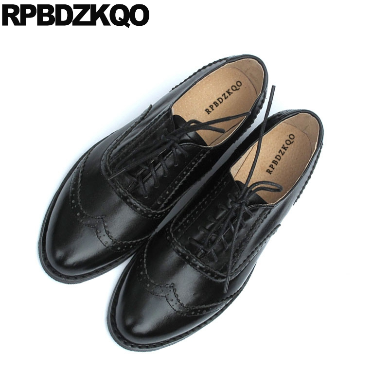 1284d498d0c57 black brogue japanese round toe lace up 13 retro vintage women oxfords  shoes genuine leather china size 42 12 44 flats large