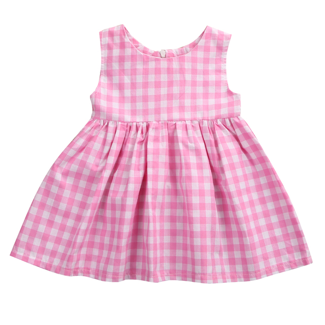 b86877b270f9e 2017 Adorable Infant Baby Toddler Girls Checked Cotton Sleeveless  One-pieces Dresses Outfits Pinky Big Plaid Loose Mini Dress
