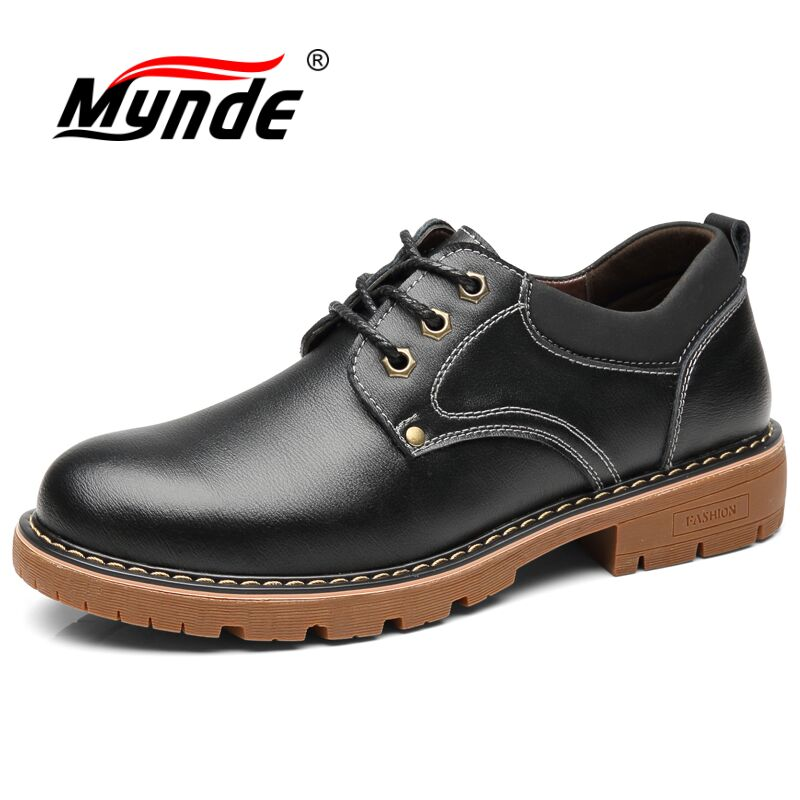Mynde Brand Handmade Breathable Men's Oxford Shoes Top Quality Dress Shoes Men Flats Fashion Genuine Leather Casual Men Shoes