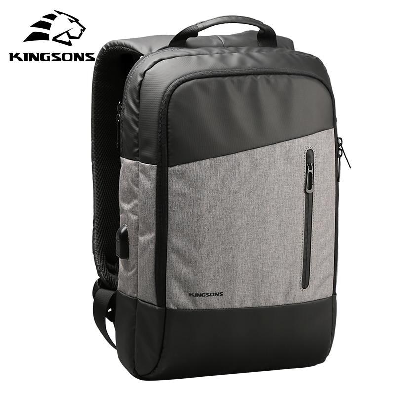 Kingsons New Business Waterproof Notebook Backpack w/ Phone Sucking&USB Charging Men Women Laptop Computer Bag 15 15.6 inch