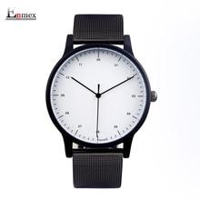 2017 regalo Enmex estilo fresco reloj Breve moda elegante simple con blanco y Negro cara de acero banda de cuarzo reloj de moda
