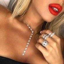 Collier Long larme pour femmes, pendentifs, collier en zircone cubique scintillant, Perle scintillante