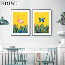 Nordic Canvas Painting Wall PictureTropical Plant flamingo Printing Posters Pictures for Living Room  Decor AJ00102