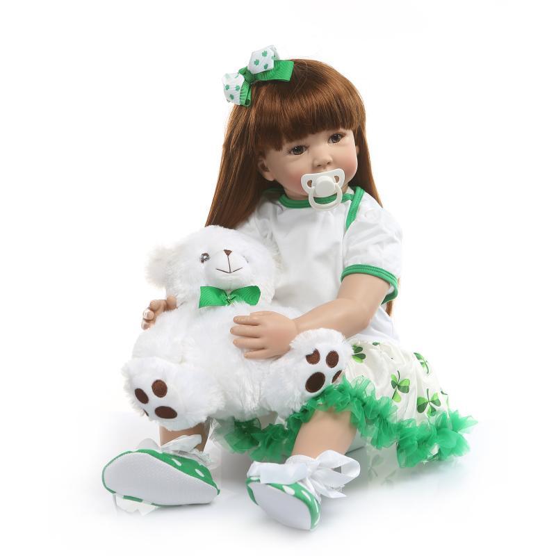 NPK 60 cm très grand 6-9 mois reborn bambin poupée réaliste maquillage 100% jouets de beauté à la main Silicone Reborn poupée jouet pour enfants