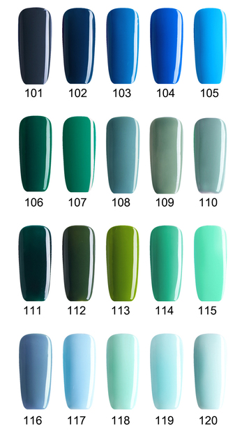 Buy 5 Get 1 Free, Green Blue Nail Gels Soak Off LED UV Nail Gel Lacquer Long Lasting No Chip (DHL Global Mail Delivery)