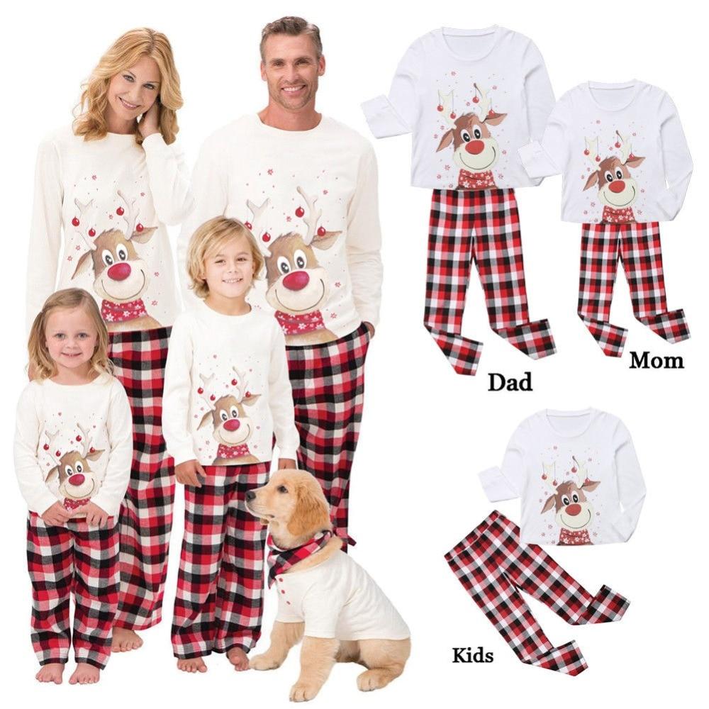 2Pcs Family Matching Christmas Pajamas Set Reindeer Pajamas Xmas Sleepwear Nightwear Pajamas 2Pcs Set